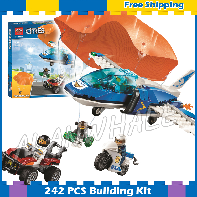242pcs City Arctic Sky Police Parachute Arrest Crook's getaway buggy 11208 Figure Building Blocks Toys Compatible with Lago