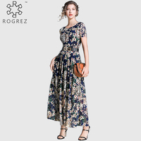 ROGREZ Blue Spring Summer Vintage Pleated Women Casual Boho Dress Casual Floral Dress Short Sleeve Long Maxi Dress