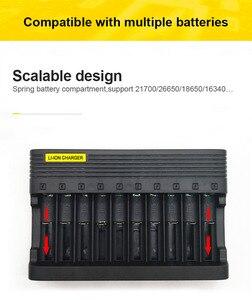 Image 3 - PUJIMAX10 slots зарядное устройство 18650 ЕС умная зарядка 26650 21700 14500 26500 22650 26700 литий ионная аккумуляторная батарея зарядное устройство