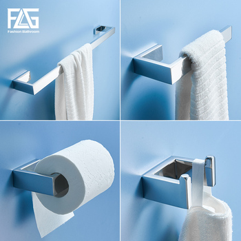 FLG Stainless Steel Chrome Bath Hardware Towel Bar Robe Hook Paper Holder Bathroom Accessories Set Banheiro