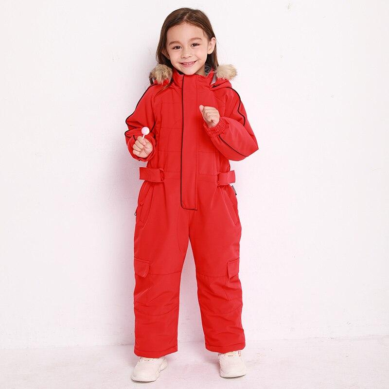Bluemagic зимние лыжные костюмы для малышей, один предмет для детей, водонепроницаемый теплый комбинезон для девочек и мальчиков, Сноубордическая куртка, комбинезон-30 градусов - Цвет: RED