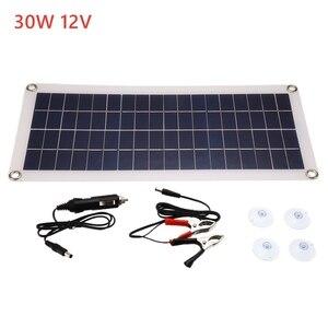 Image 2 - Panel Solar de 30W y 12V células solares de salida USB Dual, Panel Solar de polímero, controlador de 10/20/30/40/50A para cargador de bote de coche y Yate