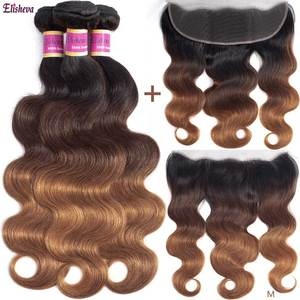 Ombre Body Wave Bundles with Frontal 13x4 Peruvian 1b/4/30 Remy Human Hair Colored Brown Honey Blonde 3 Bundles with Closure(China)