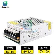 Transformador de iluminación AC110V-220V a CC, adaptador de fuente de alimentación de 5V, 4A, 5A, 10A, 20W, 50W, controlador de interruptor de tira LED, fuente de alimentación conmutada