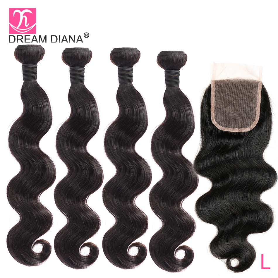 DreamDiana Malaysian Hair Bundles With Closure 8