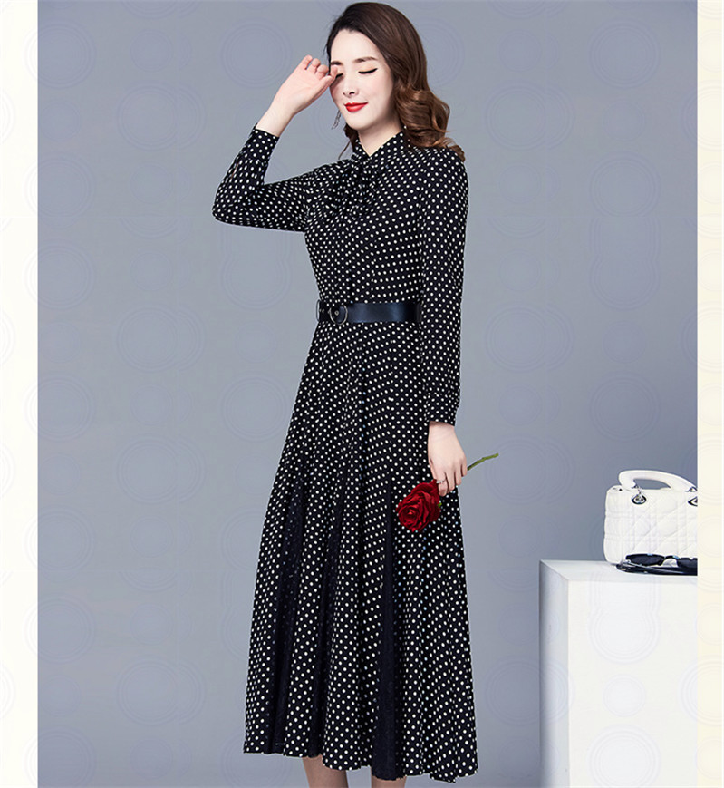 Feminine Dress 2019 New Style Spring And Autumn Korean-style Elegant High-waisted Lace Joint Over-the-Knee Polka Dot Long Skirts