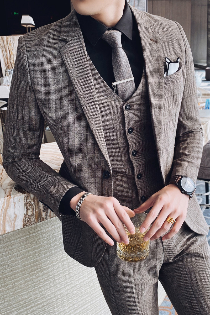 British Style 3pc Men Suit Plaid Spring New 2020 Slim Fit Wedding Suits For Men All Match Gentlemen Business Formal Wear Tuxedo Suits Aliexpress