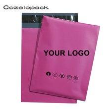 50 stücke rosa poly mailer, bereit zu versenden oder custom design rosa versand tasche, benutzerdefinierte marke porto tasche kurier selfseal tasche mit logo