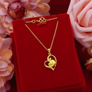 Korean Fashion 24K Gold Necklace Women's Wedding Engagement Jewelry Elegant Pendant Necklace Chocker for Girl Birthday Gifts