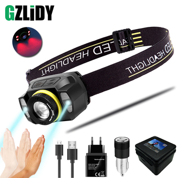 Portable LED Headlamp USB Mini Headlight with Sensor Switch Super Bright Fishing Lights with Red Lamp Waterproof Zoom Lantern rechargeable led headlamp sensor switch headlight waterproof super bright 4 lighting modes fishing headlamp with usb cable