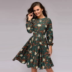 Women Floral Print a Line Dress Long Sleeve Casual Women Christmas Dress 2019 Autumn Club Party Elegant Fashion Women Dress 6