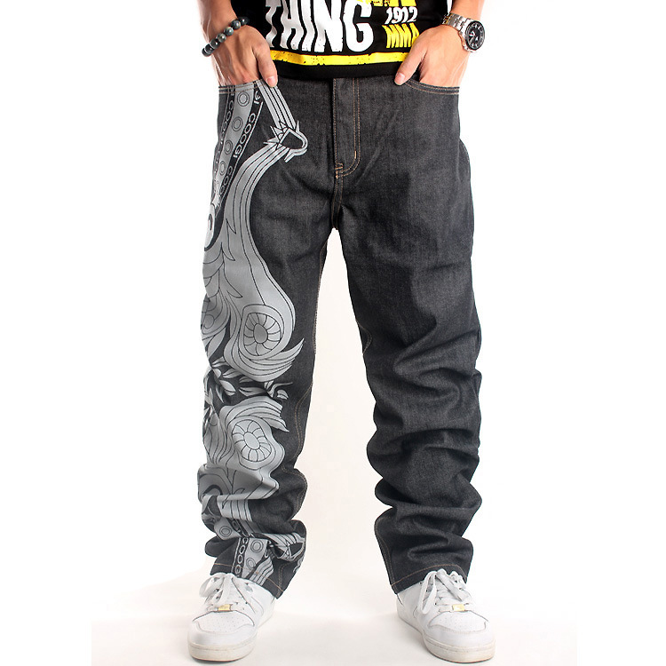 2019 Mens Baggy Jeans Men Wide Leg Denim Pants Hip Hop New Fashion Embroidery Skateboarder Jeans Free Shipping