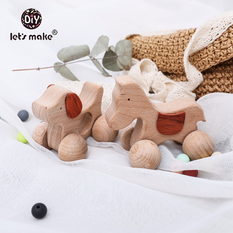 Let'S Make Wooden Baby Toys Dog Car Gym Wood Animal Rattles Horse Car Wooden Teether Kids Toys