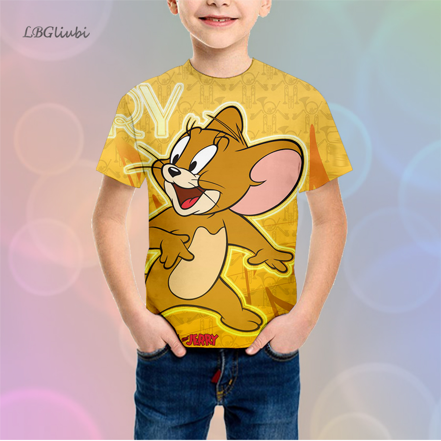 LBG new cat and mouse cartoon childrens t-shirt 3D print T-shirt fashion short sleeve