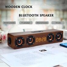 Altoparlante Bluetooth senza fili in legno sveglia portatile Stereo PC sistema TV altoparlante Desktop Sound Post Radio FM altoparlante per Computer