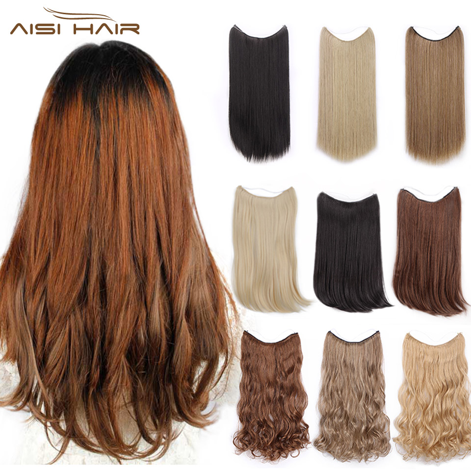 I's A Wig 22'' Invisible Wire In Hair Extensions Secret Fish Line Hairpieces Long Wavy Real Natural Synthetic
