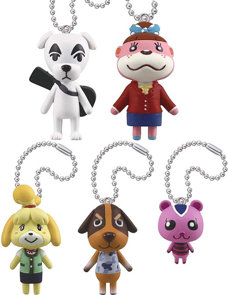 Original 5pcs/lot Japanese Animal Crossing Keychain Action Figure