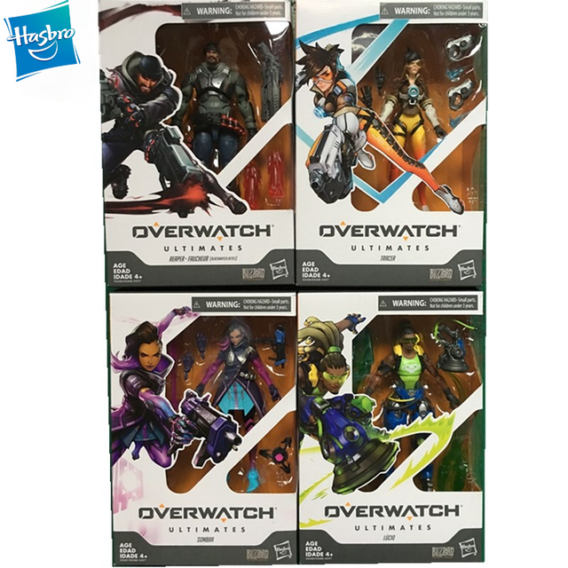 Original Hasbro Overwatch OW Blizzard Game Character Figure Reinhardt Tracer Genji Hanzo McRae PVC Boxed Model Toy Gift