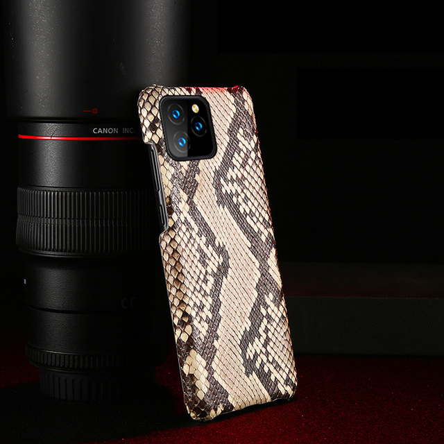 Luxury Genuine Python Leather Back Cover for iPhone 7 8 Plus X XR XS MAX Original Leather Case FHX BY for iPhone 11 11Pro MAX
