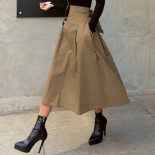 Women Autumn Wild High Waist Bow Slim Skirts 2021 Korean Fashion Solid Color Big Swing Ladies Long Skirt Female Streetwear Pop
