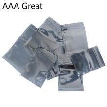 100 pçs/lote saco de armazenamento de alumínio antiestático zip lock resealable anti estática bolsa para acessórios eletrônicos pacote sacos esd novo
