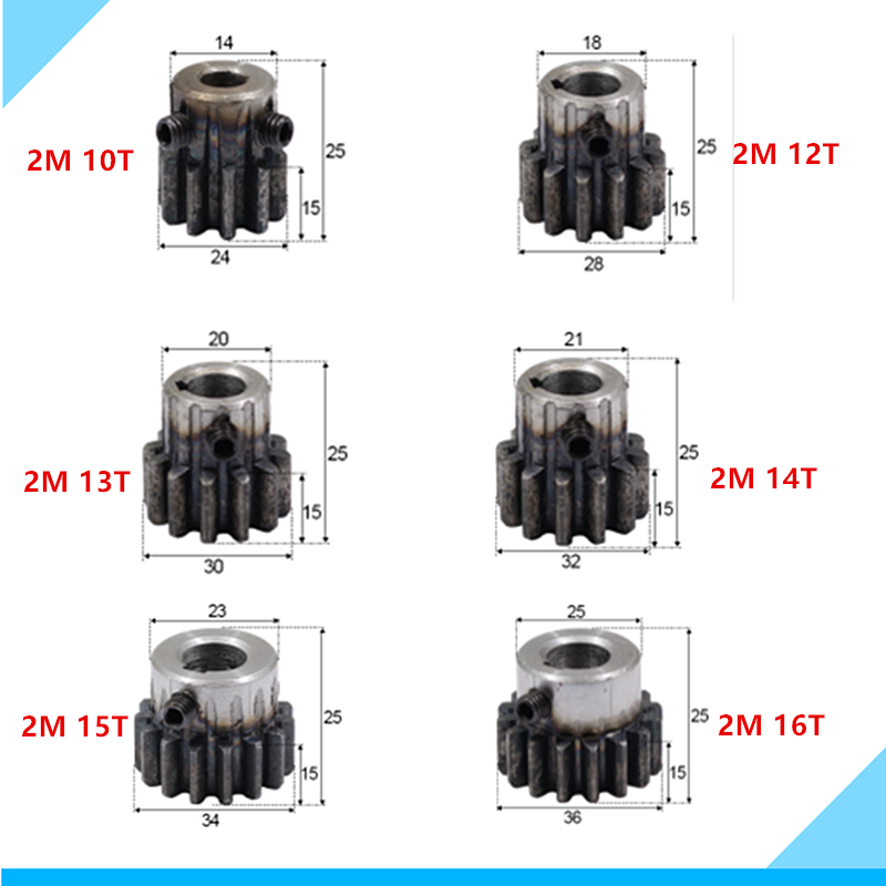 Spur Gear Pinion Mod 2 M=2 10/12/13/14/15/16T Right Teeth 45# Steel Positive Gear CNC Gear Rack Transmission Motor Gears