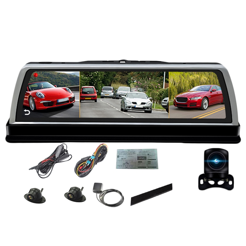 10 Inch <font><b>Car</b></font> Center Console <font><b>Mirror</b></font> <font><b>Dvr</b></font> Dashcam 4G 4 Channel Adas Android <font><b>Gps</b></font> Wifi Fhd 1080P Rear Lens Video <font><b>Recorder</b></font> image