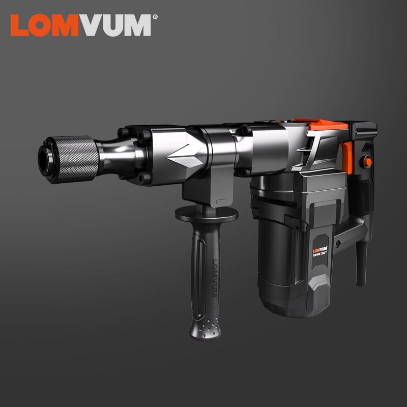 LOMVUM 220V Demolition Hammer Indurstial With BMC Accessories Impact Drill Power Drill Electric Drill