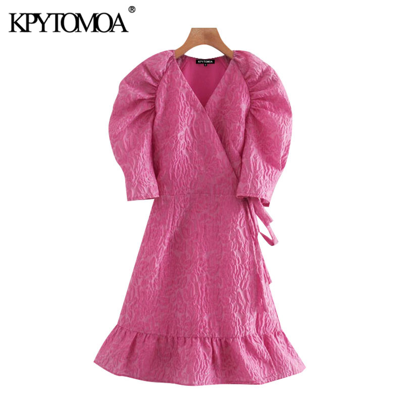 KPYTOMOA Women 2020 Chic Fashion Floral Pattern Ruffle Wrap Mini Dress Vintage Puff Sleeves Side Bow Tied Female Dresses Mujer