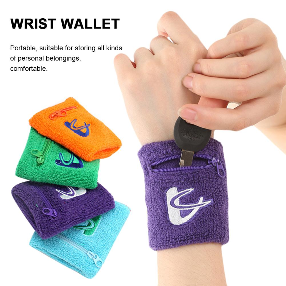 4PCS Sweat Absorbent Towel Wrist Bag Wallet Wristband With Zipper For Running Walking Basketball Tennis Hiking Sports Pouch Bags