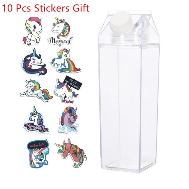 $ US $4.84 Kitchen Leakproof Milk Carton Water Bottle 500ML Juicing Bottles Plastic Water Bottle Clear Milk Carton Bottle with 10 Stickers