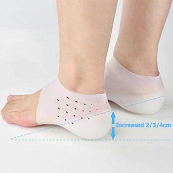1 Pair Unisex Invisible Height Lifting IncreaseSilicone Gel Lift Insoles Dress In Socks Cracked Foot Skin Care Tool