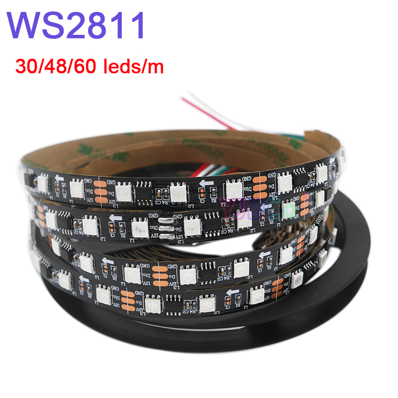 DC12V 5m WS2811 Pixel Led Strip Light;Addressable 30/48/60leds/m Full Color WS2811 IC 5050 RGB Led Lamp Tape