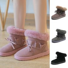 Women's Plus Velvet Ankle Booties Ladies Fashion Solid Winter Keep Warm Bowknot Short Snow Boots Casual fur plush Insole Shoes(China)