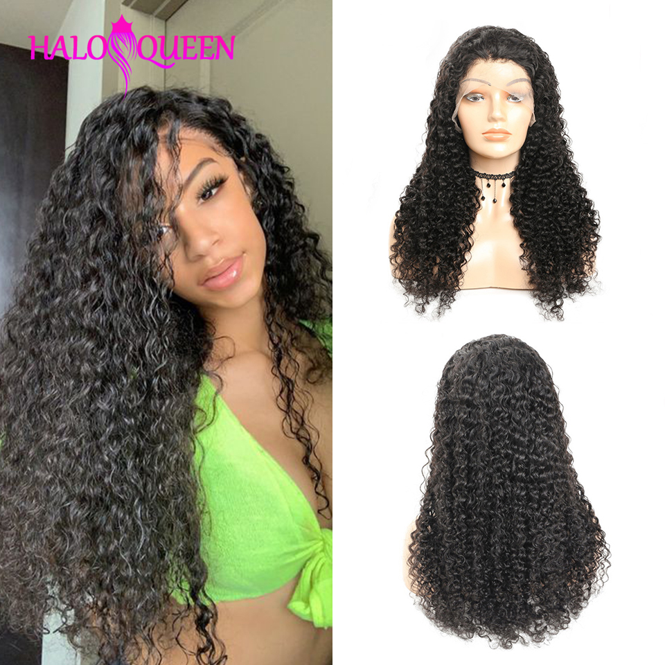 HALOQUEEN Lace Closure Wig Kinky Curly Brazilian Human Hair Wigs Pre-Plucked 8-24 Inch Non Remy Human Hair