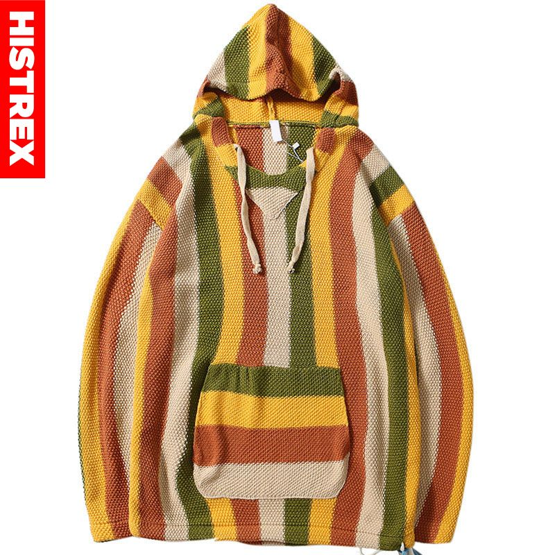 2019 Men Retro Sweater Hoodie Hip Hop Knitted Striped Sweater Pullover Streetwear Harajuku Vintage Hooded Pullover Cotton Autumn