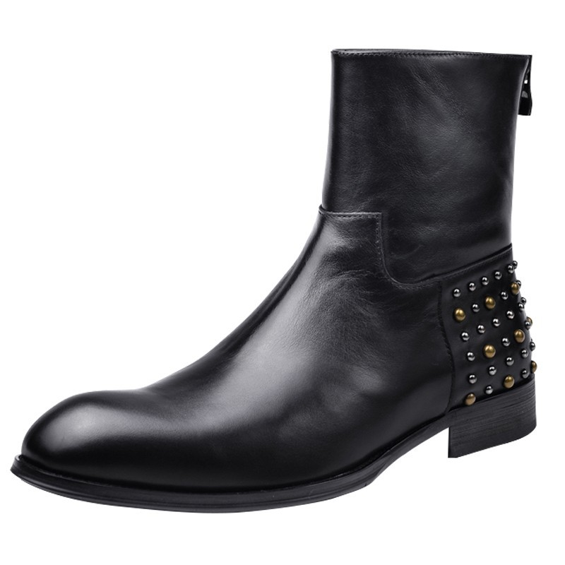 Fashion Office Men Pointed Toe High Top Work Ankle Boots Luxury Real Cow Leather Safety Shoes Man Rivet Studded Punk Party Boots
