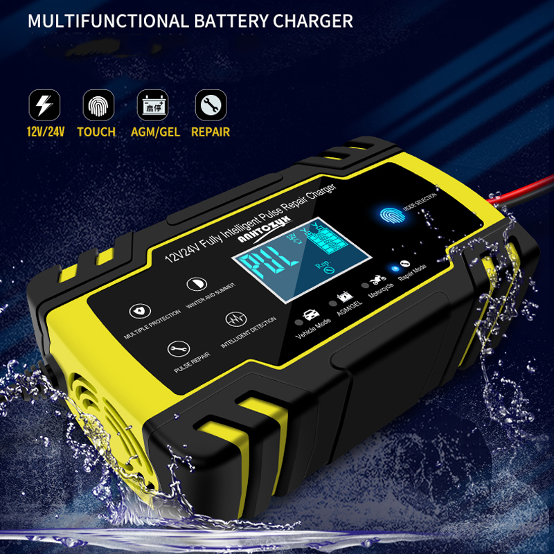 12V 8A Full Automatic Car Battery Charger Power Pulse Repair Chargers Wet Dry Lead Acid Battery-chargers Digital LCD Display