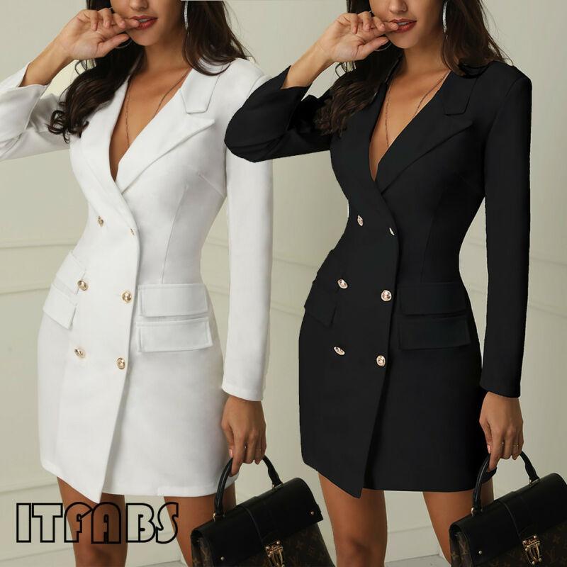 Goocheer Autumn Suit Blazer Women 2019 New Casual Double Breasted Pocket Women Long Jackets Elegant Long Sleeve Blazer Outerwear