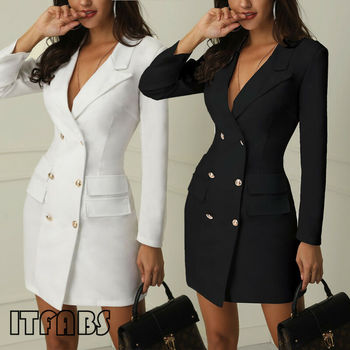 Goocheer Autumn Suit Blazer Women 2019 New Casual Double Breasted Pocket Women Long Jackets Elegant Long Sleeve Blazer Outerwear 2020 fashion hot new women blazers and jackets long sleeve slim blazer ruffle short blazer design candy color outerwear