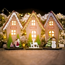 Color Painted LED Light Up Wooden House Christmas Desktop Ornament Luminous Xmas Holiday