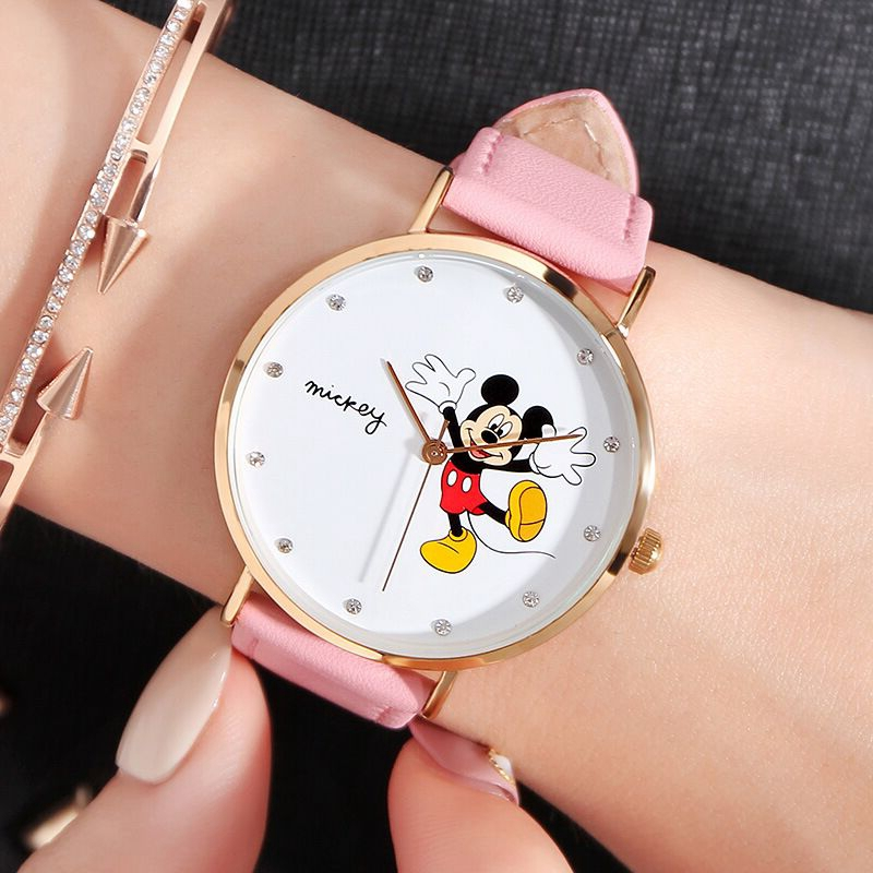 New Mickey Women Leather Quartz Fashion Casual Luxury Rhinestone Stone Girls Simple Watch Ladies Blue Red Disney Student Watches
