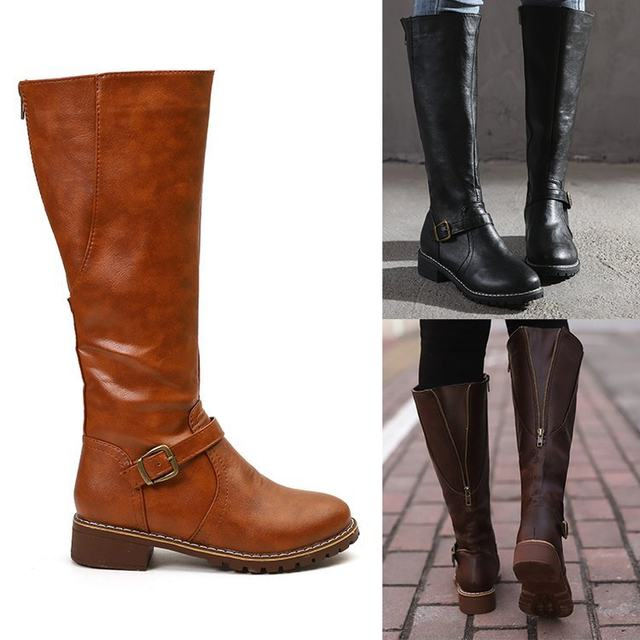 2019 Knees Square Heel Boots Women PU Leather Suede Matte Boots Slip on Zapatos De Mujer Solid Riding Knight Boots Winter Shoes 39