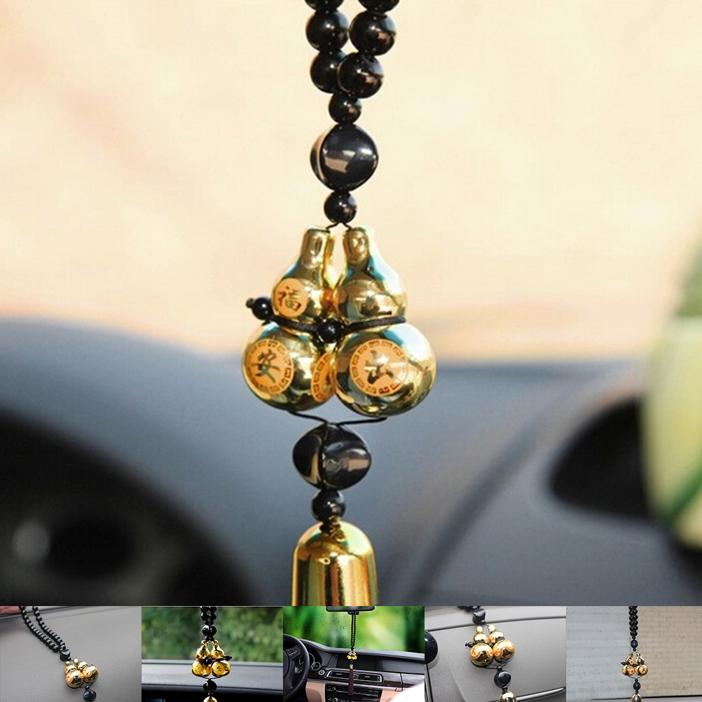 Gold Plated Double Gourd Lucky Entry Car Pendant Chinese Style Car Interior Accessories Ornaments
