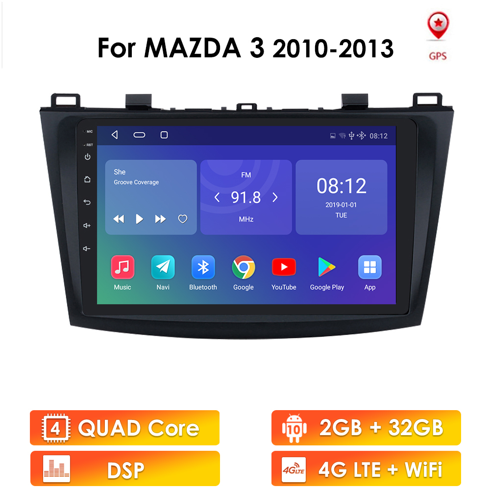 For Mazda 3 2010-2013 maxx axela android 10 Car GPS Radio Stereo 2G 32G WIFI Free MAP Quad Core 2 din Car Multimedia Player