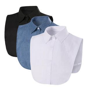 Fake Collar For Shirt Detachable Collars Solid Shirt Lapel Blouse Top Men Women Black White Clothes Shirt Accessories DropShip(China)
