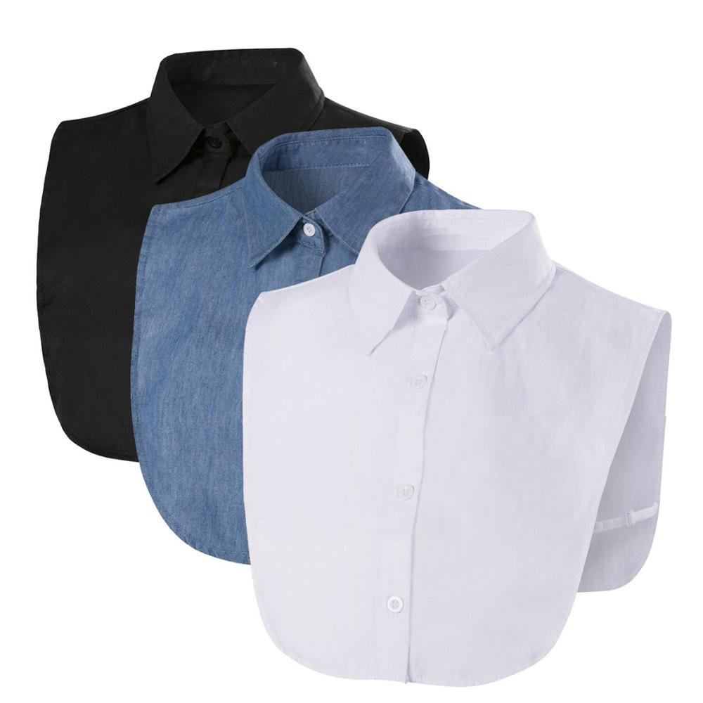 Fake Collar For Shirt Detachable Collars Solid Shirt Lapel Blouse Top Men Women Black White Clothes Shirt Accessories DropShip(China)