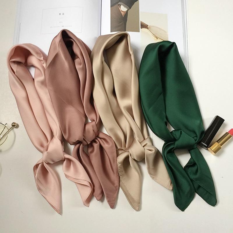 Luxury Brand Bags Scarf Women's Silk Scarf Fashion Lady Square Scarves Soft Shawls Pashmina Solid Color Bandana 70cm
