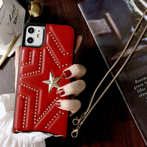 Image 2 - New PU Leather Studded Pentagram Fhx 11K Phone Case with Metal Chain for 7 8Plus X XS MAX XR Available for iPhone 11Pro MAX