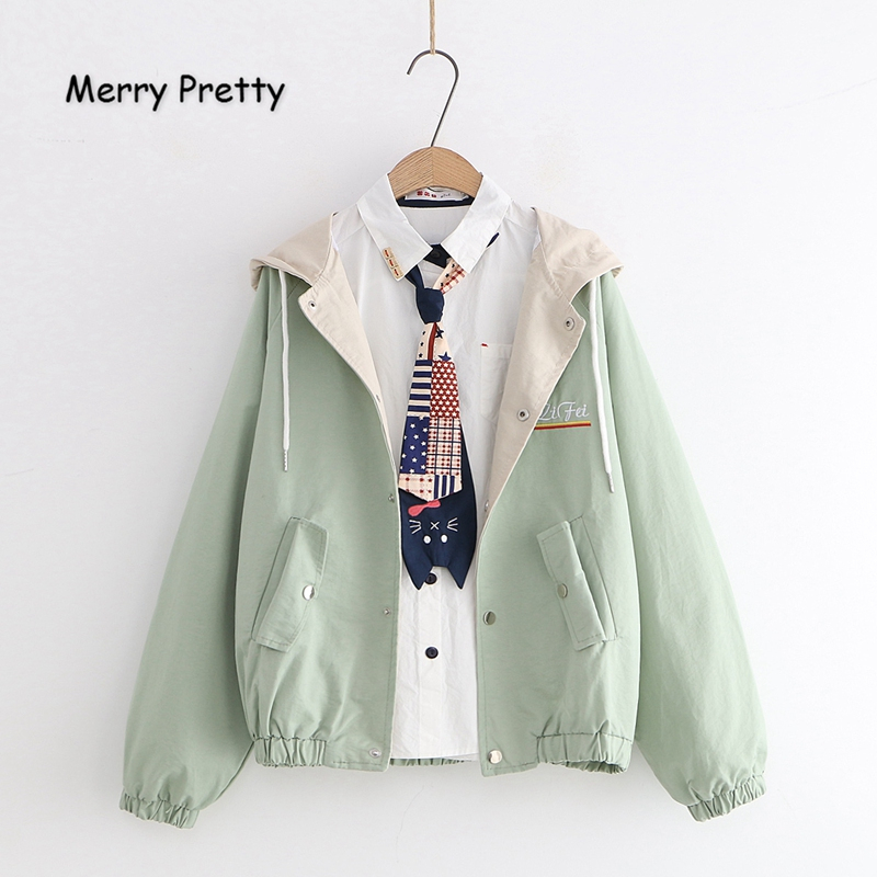 Merry Pretty Women Letter Embroidery   Basic     Jackets   2019 Winter Long Sleeve Patchwork Pockets Hooded   Jackets   Outerwear Coats